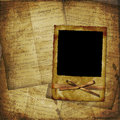 Grunge frame on the old paper for photos Royalty Free Stock Photo