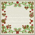 Grunge frame with pink and green flowers and hearts ornamental soft eps Stock Image