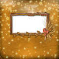 Grunge frame in scrapbooking style with bunch Royalty Free Stock Photos