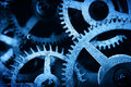 Grunge gear cog wheels background industrial science clockwork technology concept of blue tint Stock Photography