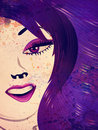 Grunge girl with violet and purple eyes portrait of an abstract hair background Royalty Free Stock Photography