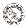 Grunge gramophone stamp Royalty Free Stock Photo