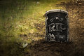 Grunge grave with tombstone dark fresh dirt Royalty Free Stock Image
