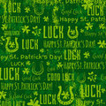 Grunge green background for Patricks day with shamrocks, vector Royalty Free Stock Photo