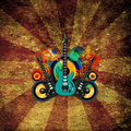 Grunge guitar and speakers illustration speakersr features guitars swirls a dark textured background Stock Photo