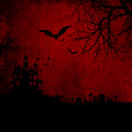 Grunge halloween background detailed red wtih spooky bats and haunted house Royalty Free Stock Image