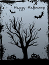 Grunge halloween background with tree and bats silhouette jack olantern pumkins Stock Images