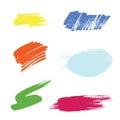 Grunge hand drawn brush stroke vector set.