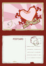 Grunge heart postcard vector Στοκ Εικόνες
