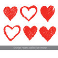 Grunge heart texture vector set Royalty Free Stock Photo