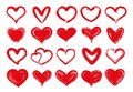 Grunge Hearts. Hand Drawn Red ...