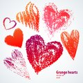 Grunge hearts on white background. Vector set Stock Image