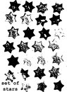 Grunge hexagram stars brush set imprints on white background usable as brushes for christmas thematic collages Stock Image