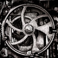Grunge industrial antique machine old cog wheel machinery metal and steel gears in vintage sepia Stock Photography