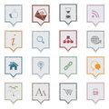 Grunge labels web icons over white background Royalty Free Stock Photo