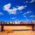 Grunge mail boxes in california mohave desert usa a row at Stock Image