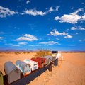 Grunge mail boxes in california mohave desert usa a row at Royalty Free Stock Photos