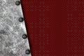 Grunge metal background. rivet on white metal plate