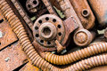 Grunge metal components of old industrial machinery Royalty Free Stock Photo
