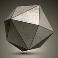 Grunge metallic3d spherical object created from triangles, futur