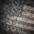 Grunge military background camouflage pattern over american flag scratched Royalty Free Stock Images
