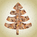 Grunge mosaic christmas tree greeting card made small mosaic pieces brown colors gradient background illustration eps mode Royalty Free Stock Images