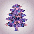 Grunge mosaic christmas tree greeting card made small mosaic pieces violete colors gradient background illustration eps mode Royalty Free Stock Photos
