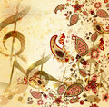 Grunge musical  vintage background with floral Royalty Free Stock Photo