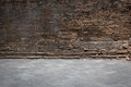 Grunge old brick wall and cement floor weathered texture Royalty Free Stock Photo