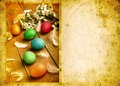 Grunge old carved postcard with eggs to celebrate easter on the wooden background Royalty Free Stock Photos