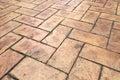 Grunge Old Cracked Brown Brick Stone Street Road. Sidewalk, Pavement Texture Background