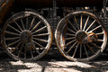 Grunge old steam locomotive wheels photo of Stock Photos