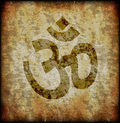 Grunge om symbol on background Royalty Free Stock Image