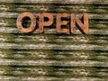 Grunge - open sign Stock Photo