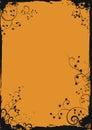 Grunge orange floral frame Stock Image