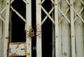 Grunge padlock and old metal door Royalty Free Stock Photos