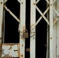 Grunge padlock and old metal door Royalty Free Stock Image