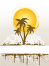 Grunge palm tree Royalty Free Stock Photo