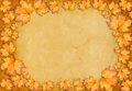 Grunge paper design in scrapbooking style with photoframe and autumn foliage Royalty Free Stock Images