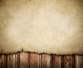 Grunge paper notice on wooden wall background Stock Photography