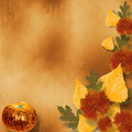 Grunge papers design with autumn foliage Royalty Free Stock Photography