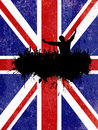 Grunge party background with union jack flag silhouette of a crowd on a Stock Photo