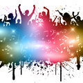 Grunge party style image of people with music notes Royalty Free Stock Photography