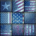Grunge patchwork with usa flags seamless background pattern Royalty Free Stock Images
