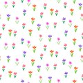 Grunge pattern with small hand drawn flowers. Royalty Free Stock Image