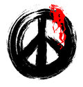 Grunge peace symbol bleed and blood drops,