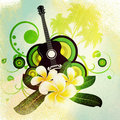 Grunge plumeria flowers and guitar musical background with white Royalty Free Stock Photo