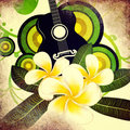 Grunge plumeria flowers and guitar Royalty Free Stock Photo