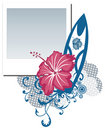 Grunge  polaroid photo frame with hibiscus flower Royalty Free Stock Photo