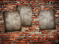Grunge posters on brick wall Royalty Free Stock Photography